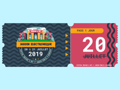 Jardin Electronique ticket festival logo flat  design icon branding flat identity vector design illustrator illustration adobe