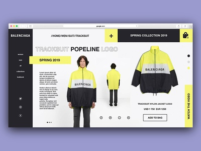 Balenciaga interface app minimal icon adobe type website typography interface web ui white ux flat  design branding vector flat identity illustrator illustration design