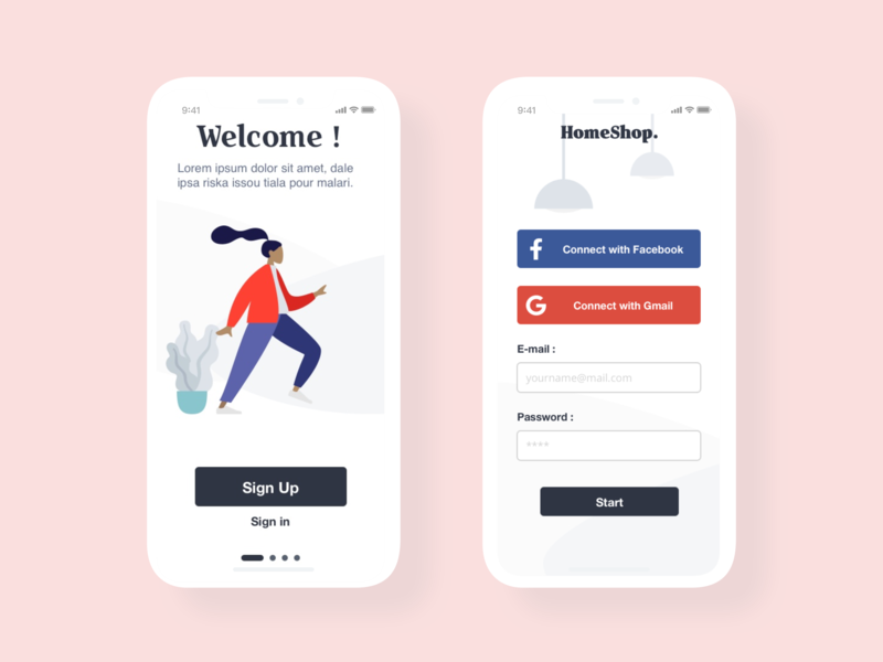 [UI Design] HomeShop - Onboarding login onboarding ui logo mobile app dailyui mobile website minimal vector interface app web typography adobe flat  design flat illustration ux ui identity illustrator