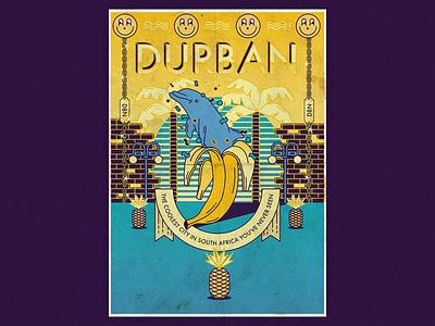Interpret Durban smile pineapples dolfin illustration poster interpret durban durban