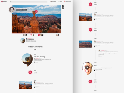 Storie real time like storie video player commenting liking video ux ui design ui