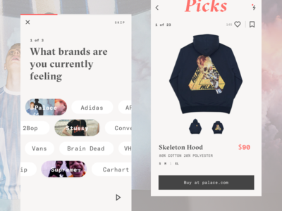 Picks streetwear stussy adidas supreme palace clean minimal ios e-commerce online store app
