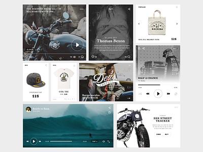 Deus Ex Machina - UI Cards music video player clean cards e-commerce typography online store website surf ui product deus