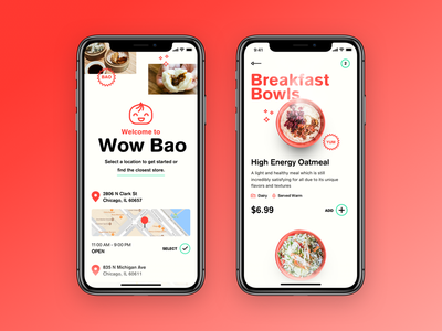 Wow Bao 🍜 ui clean chinese wow bao bao asian restaurant app ios