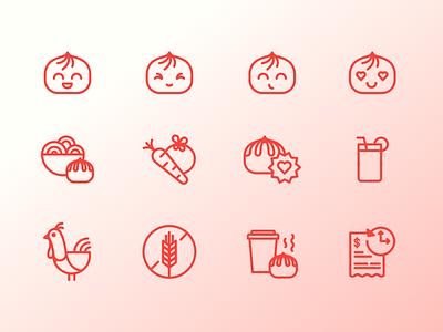 Wow Bao Icon Set vector wow bao restaurant chinese icons icon bao