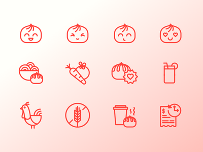 Wow Bao Icon Set vector wow bao restaurant chinese icons icon bao
