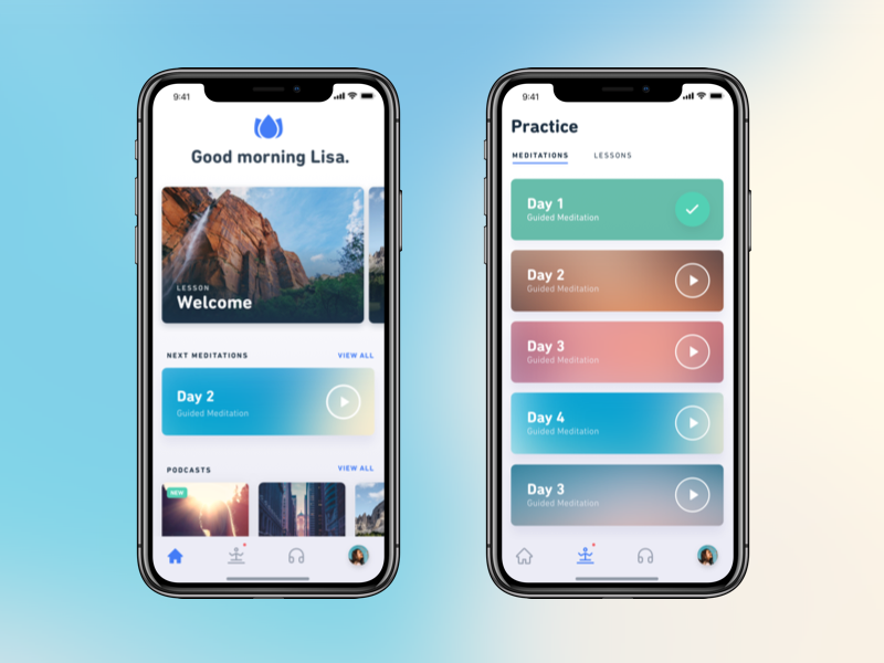 Meditation App gradients ux ui clean ios app meditation