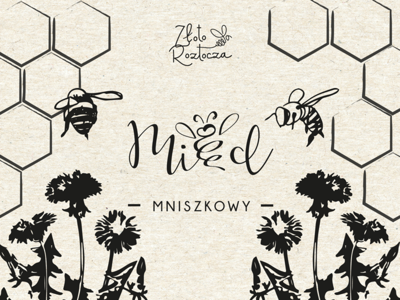Miód Złoto Roztocza branding vector typography illustration food design logo bee label honey