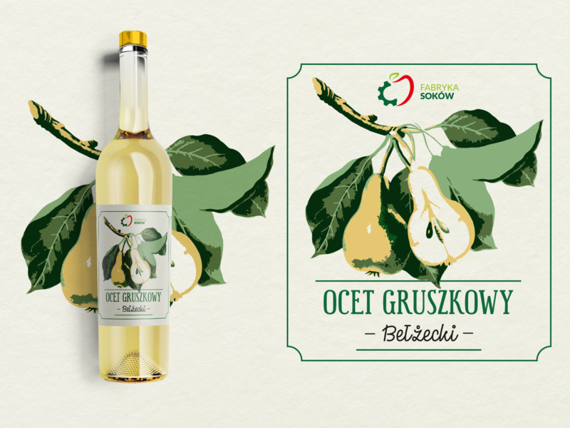 Ocet gruszkowy-label typogaphy packaging illustration vector label design label packaging label food design branding
