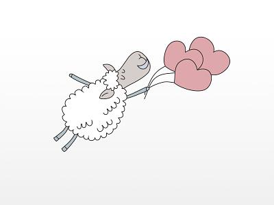 Enamored Sheep character design character vector illustration vector light sheep illustration
