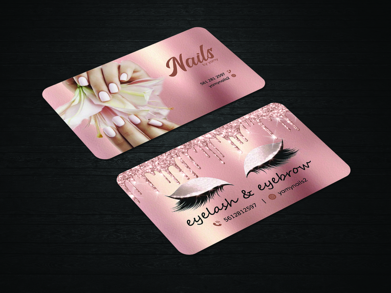 Nale and eyelash business card design creative nails styls glitter dripping