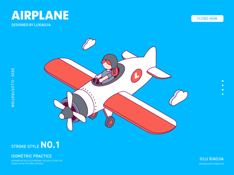 Flying the airplane fly girl airplane stroke illustration isometric
