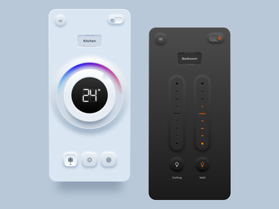 Home automation remote control realistic lighting temperature skeuomorphic neumorphic skeuomorphism neumorphism app ui dark remote control home automation