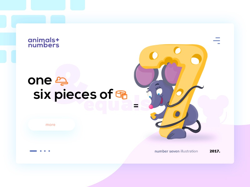 Animals + numbers / Number seven kids seven number cheese mouse design illustration