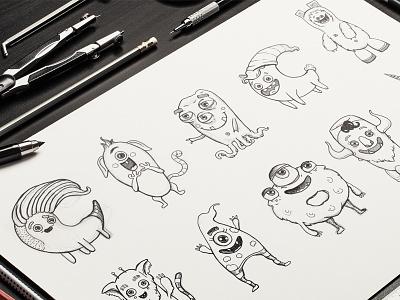 Pick the monster! monster illustration variations drawing sketch
