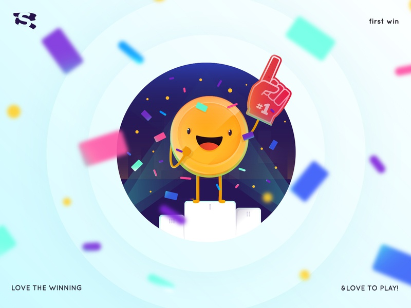 First Win character coin vector mobile app illustrator illustration