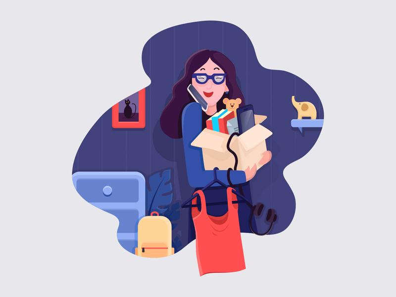 Moving out girl illustration glasses happy moving company box girl vector design character adobe illustrator illustration