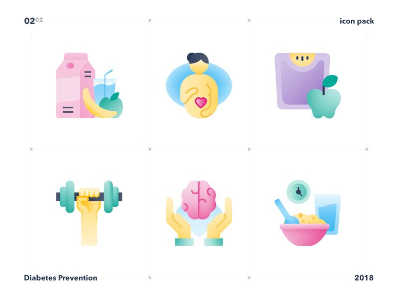 Diabetes prevention icon set part 2 icon design icon set icons patient prevention diabetes ui design mobile app adobe illustrator