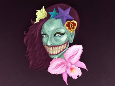 Zombie Gurl tattoo spooky halloween party haloween zombie vector character adobe illustrator illustration