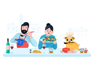 Food and Drinks kitchen family pug cooking food character illustrator illustration