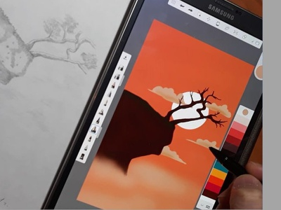 illustration mountains sky sunset tablet illustrator vector illustration