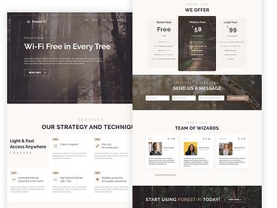 Forest-Fi: unlimited free internet worldwide landing page landing creative digitaldesign uidesign website webdesign ux ui interface figma design concept