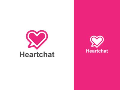 Heart Chat Messenger Pink Dating App Logo Design ux app design illustration dating technology ui designing business branding logo