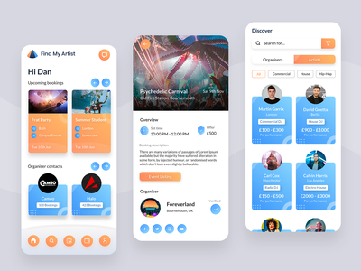 Artist Bookings App discovery events app booking app artist blue orange design simple minimal ui app design clean app