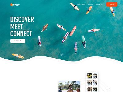 Uniby - Product Marketing Landing motion graphics interaction design tech startup product landing page meetup app university app student app student