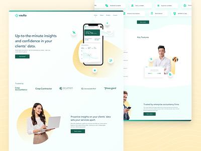 Vaulta (Live) - Accountancy Platform Website Design marketing website accountant digital product software saas business fintech finance accountancy accounting