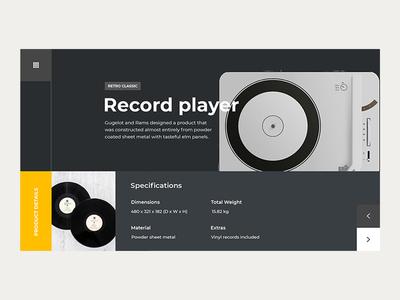 Record Player Concept. dark simple minimal clean flat web business webdesigner design webdevelopment graphicdesign webdesign