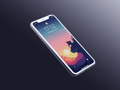 Sunset mockup ios wallpaper texture photoshop vector minimal iphone11promax iphone ipad illustrator illustration homescreen graphic drawing design colorful background apple