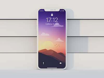 Sunset landscape V2 mockup ios wallpaper texture photoshop vector minimal iphone11promax iphone ipad illustrator illustration homescreen graphic drawing design colorful background apple