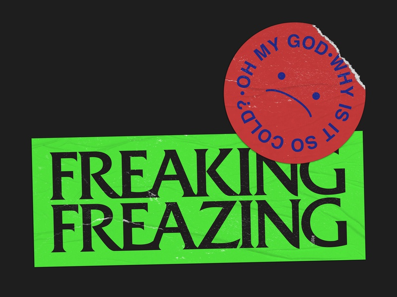 Freaking Freazing sticker design sticker branding design