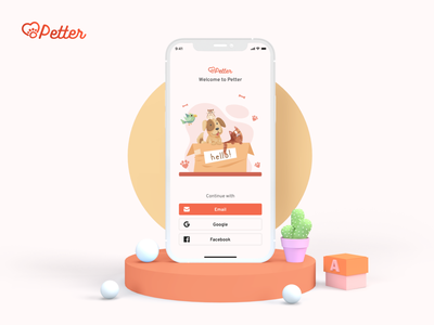 Petter - Better world for pets branding 3d login ux app orange clean flat cats illustration minimal ui dogs pets