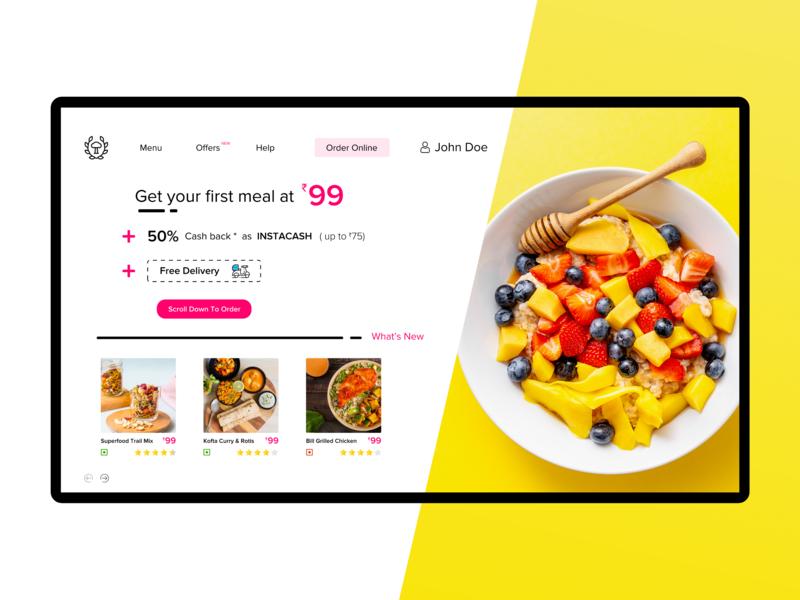 Deliverilo - Home Page yellow web design minimal delivery app food ux design branding landing  page food delivery app ui design