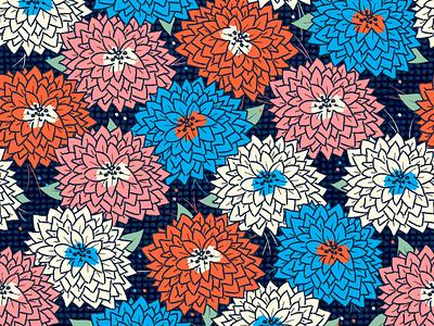 Blooms graphic design illustration pattern pink orange maximalist bold floral nature flowers