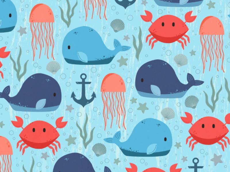 Nautical Creatures illustration. graphic design beach seashell anchor jellyfish crab whale aquatic nautical animal