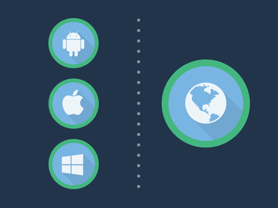 Native vs Web native web apple android windows longshadow flat icons