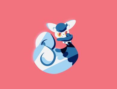 Meowstic meowstic pokemon blue pink logo illustration vector minimal illustrator flat design clean art