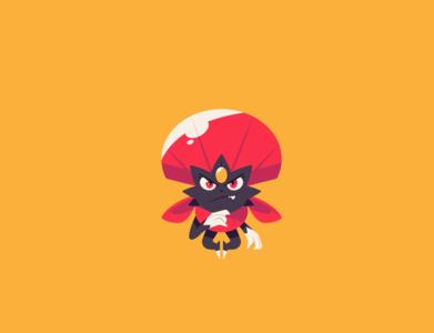 Weavile yellow blue red pokemon logo illustration vector minimal illustrator flat design clean art