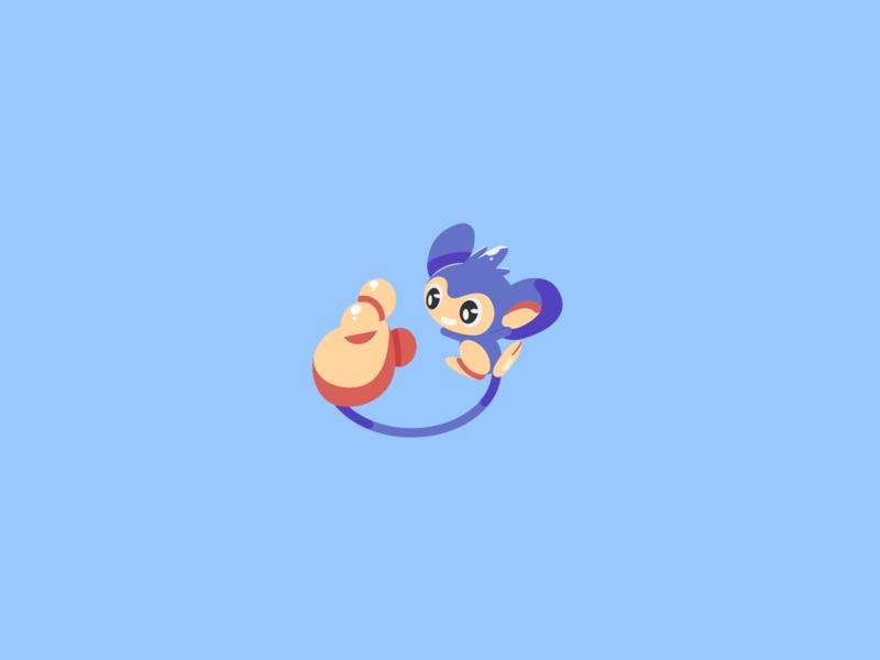 Aipom hand monkey purple pink blue pokemon illustration vector minimal illustrator flat design clean art
