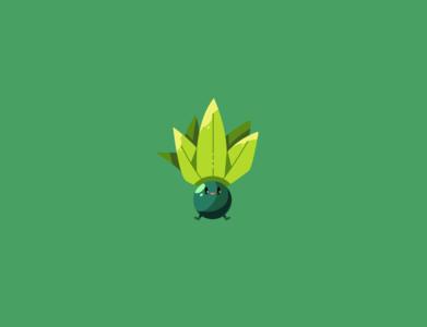 Oddish plant oddish yellow green pokemon illustration vector minimal illustrator flat design clean art