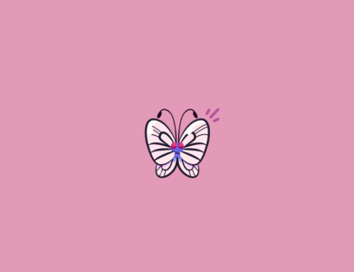 Butterfree insect animal nature white buterfly butterfly butterfree buterfree pink pokemon illustration vector red minimal illustrator flat design clean art