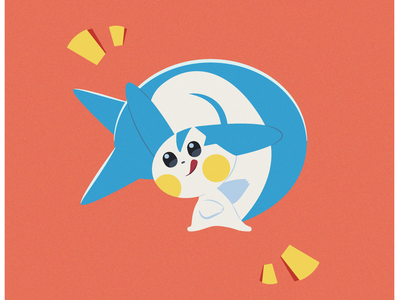 Pachirisu white squirrel yellow red blue pokemon illustration vector minimal illustrator flat design clean art