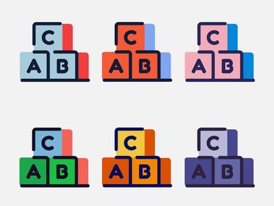 ABC blocks color childcare commission toy children abc blocks yellow orange green red blue illustration vector minimal illustrator flat design clean art