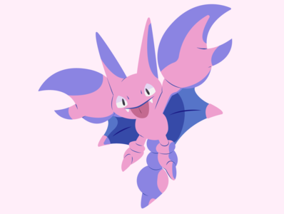 Gligar pink red blue pokemon illustration vector minimal illustrator flat design clean art
