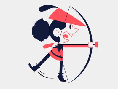 Archer kid kid child people archery archer red blue illustration vector minimal illustrator flat design clean art