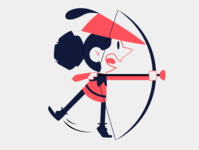 Archer kid kid child people archery archer red blue illustration vector minimal illustrator flat design clean art