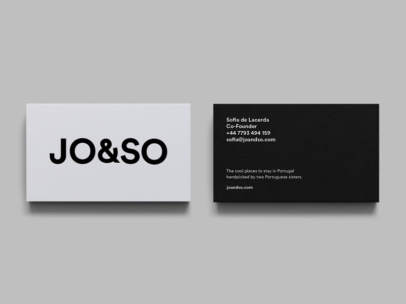 JO&SO - Cool Boutique Hotels in Portugal sanserif grotesk print design business cards sleek clean minimal typography mono logo branding identity businesscard hotels portugal boutique hotel